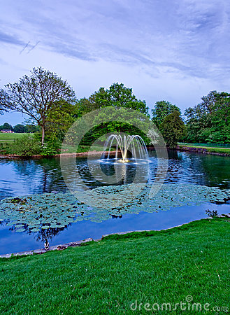 Astley Hall fountain in evening ligh
