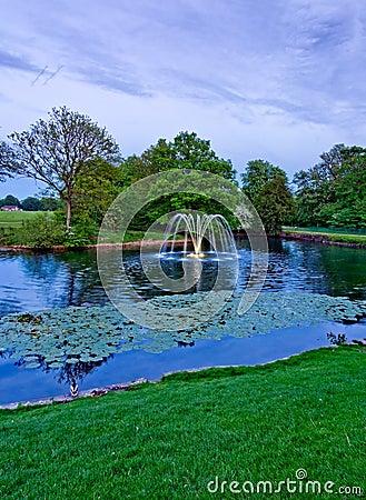 Astley Hall fountain in evening ligh