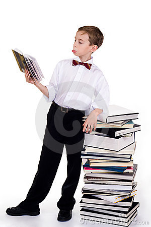 Astonished schoolboy
