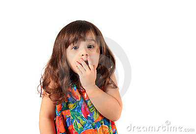 Astonished young girl