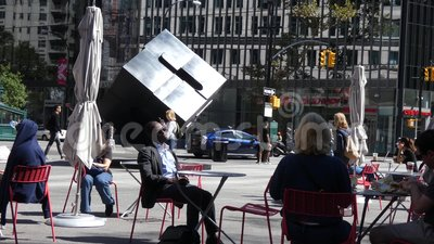 Astor Place in New York City. A public plaza in Astor Place, a New York City neighborhood named for John Jacob Astor, who at one time was the richest person in stock video footage