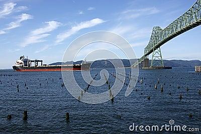 Astoria bridge and a passing ship.