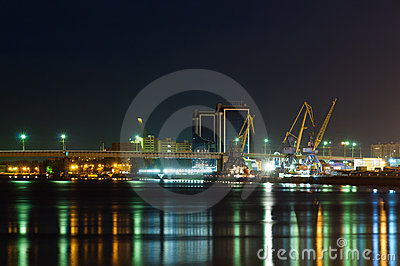 Astrakhan harbour at night