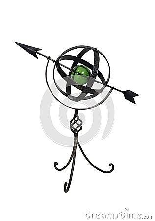 Astrolabio del metal con el interior de cristal