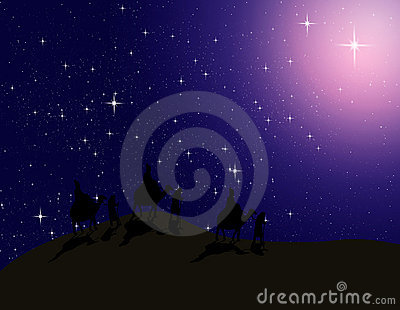 Astrologer follow the Bright star in night sky