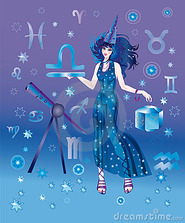 Astrologer with sign of zodiac of Libra character