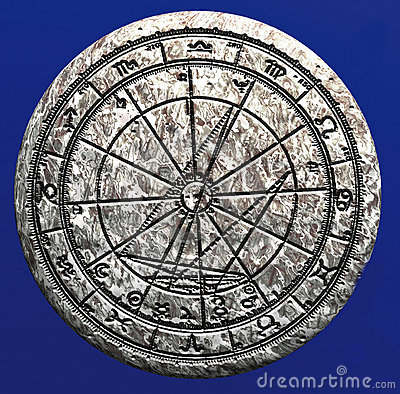 Astrological wheel on stone