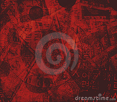 Astrology, money, Chinese characters background