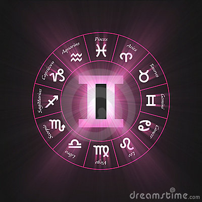 Astrology symbol Gemini light flare
