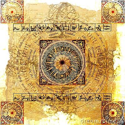 Free Astrology Zodiac - Grungy Background Stock Image - 3756961