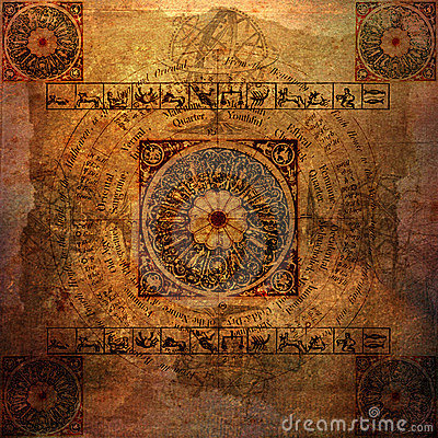 Free Astrology Zodiac (parchment) - Grungy Background Royalty Free Stock Image - 12058066