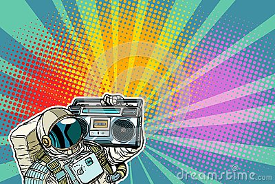 Astronaut with Boombox, audio and music Vector Illustration