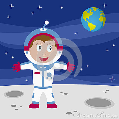Astronaut Boy on the Moon