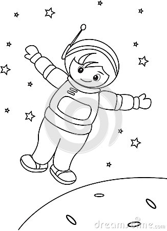 astronaut coloring page stock illustration image 49892367