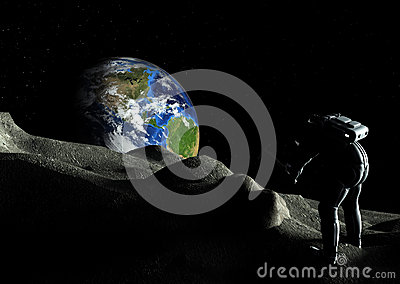 Astronaut Explorer Digging Moon Rock
