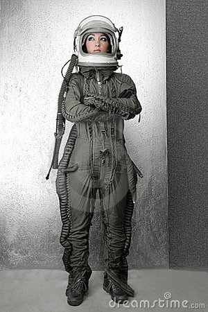 Astronaut fashion stand woman space suit helmet