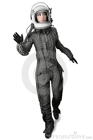 Free Astronaut Fashion Stand Woman Space Suit Helmet Stock Image - 15585441