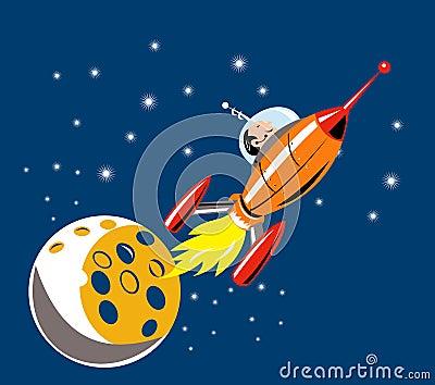 Astronaut flying spaceship