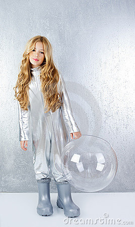 Astronaut girl with silver uniform