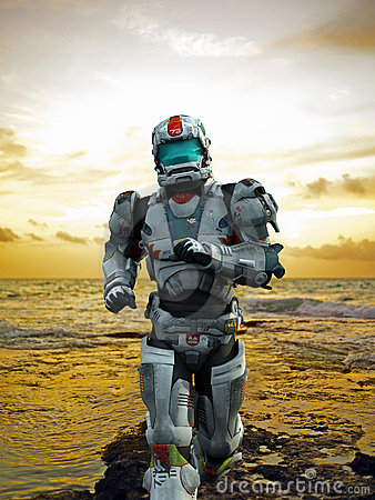 Free Astronaut Hero - Runing From The Beach Royalty Free Stock Photos - 15579058