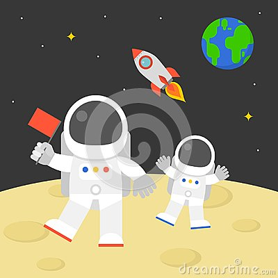 Free Astronaut Holding Red Flag Walking On Moon Surface With Flying Rocket In Space And Earth Globe Background Stock Image - 99862691