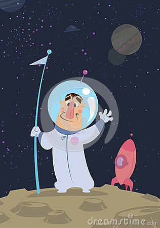 Austronaut in space landed in a planet