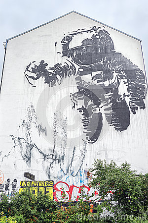 Astronaut mural in Kreuzberg Editorial Stock Image