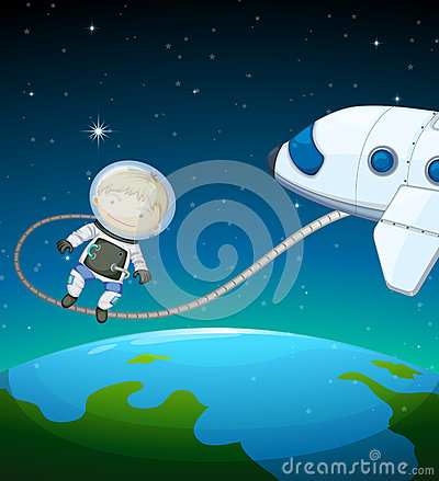 An astronaut in the outer space