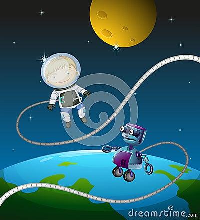 An astronaut and a robot
