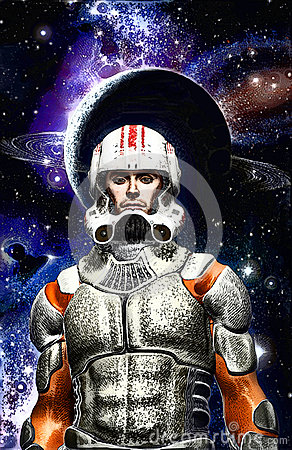 Astronaut space commander pilot painted Cartoon Illustration