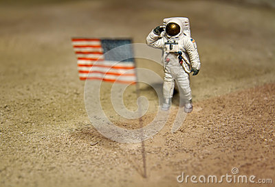 Astronaut or spaceman working on moon