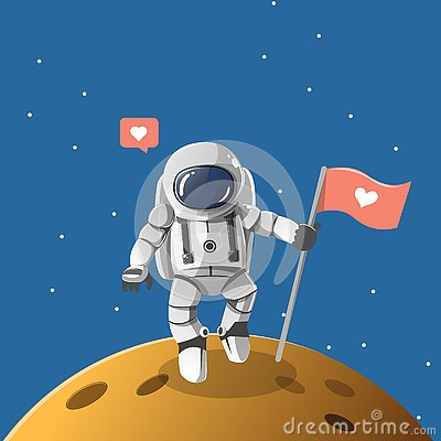 Astronaut boy on the lonely planet. Vector Illustration