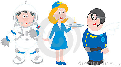 Astronaut, stewardess and pilot