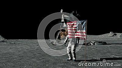 Astronaute marchant sur la lune et saluant le drapeau am?ricain Animation de CG. Quelques ?l?ments de cette vid?o meubl?e par la  illustration de vecteur