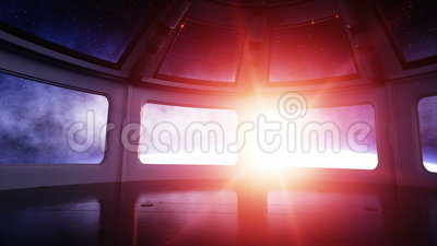 Astronautycznego statku futurystyczny wnętrze Sci fi pokój widok ziemia, wonderfull wschód słońca Astronautyczny pojęcie zdjęcie wideo