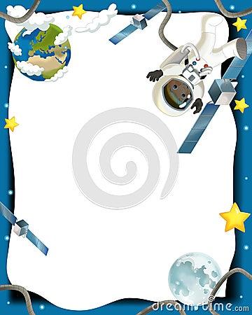 Astronautycznej podróży ilustracja dla dzieci - szczęśliwy i śmieszny nastrój -