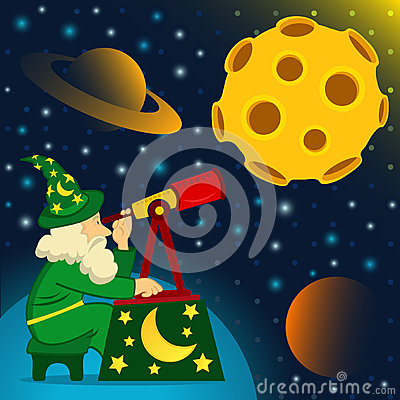 Astronomer looks at moon