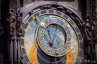 Astronomical clock in Prague at dawn