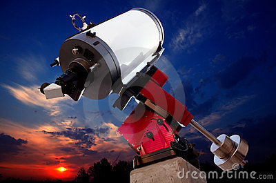 Astronomical observatory telescope sunset sky