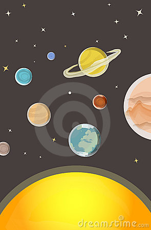 Astronomy lesson: Solar system vector