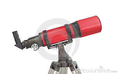 Astronomy refractor telescope isolated
