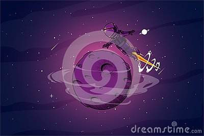 Astronout around the space illustration Vector Illustration