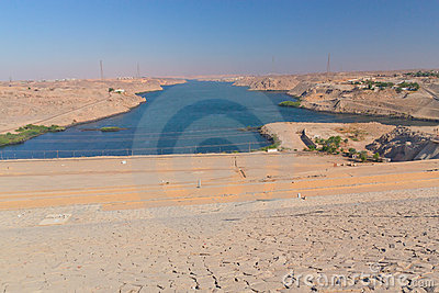 Aswan dam on the river Nile (Egypt )