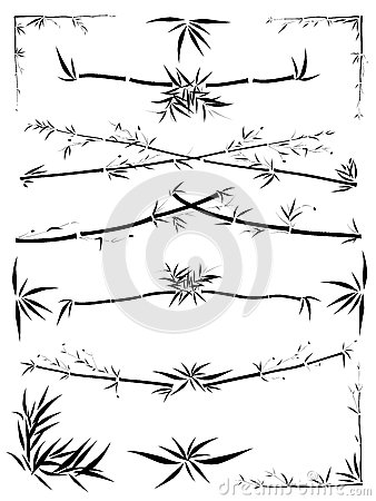 Free Asymmetric Border Decoration From Bamboo Royalty Free Stock Images - 25121409