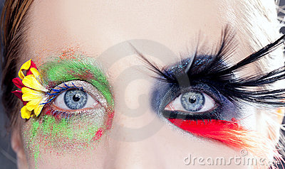 Asymmetrical fantasy eyes makeup spring black bird