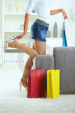 Free At Home After A Day Of Shopping Stock Photo - 10088460