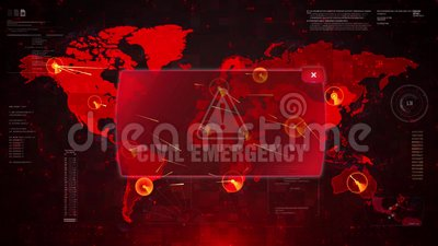 Ataque de advertência do alerta civil da emergência no movimento do laço do mapa do mundo da tela ilustração royalty free