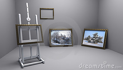 Atelier with winter pictures