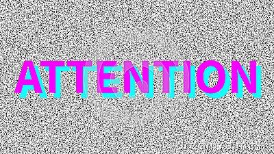 Atención Word acerca del problema en la pantalla ruidosa Interferencia de VHS en bucle Fondo animado de época Atraer al público metrajes