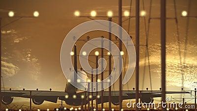 Aterrissagem do avião de passageiros de Airbus A340-600 no aeroporto contra o céu bonito do por do sol